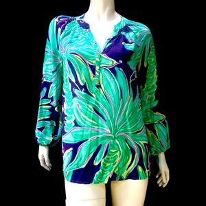 Lilly Pulitzer Elsa Popover Silk Blouse